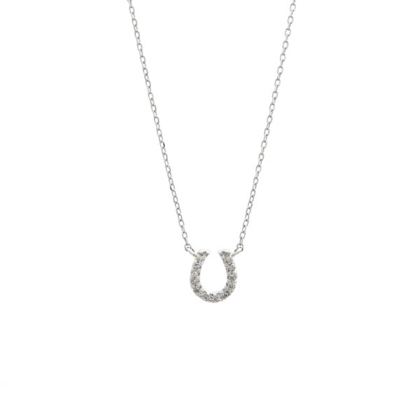 "White Gold Horse Shoe Single Micro Pave Diamond Necklace (Diamond Necklace ""petite Horse Shoe"" 16+2"")"