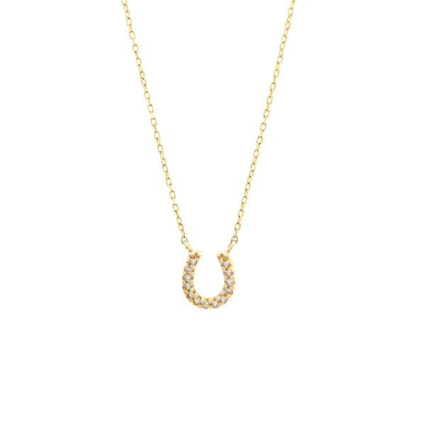 "Yellow Gold Horse Shoe Single Micro Pave Diamond Necklace (Diamond Necklace ""petite Horse Shoe"" 16+2"")"