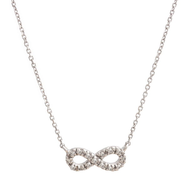 "White Gold Infinity Single Micro Pave Diamond Necklace (Petite Diamond Necklace (16+2"") ""infinity"")"