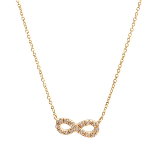 "Yellow Gold Infinity Single Micro Pave Diamond Necklace (Petite Diamond Necklace (16+2"") ""infinity"")"