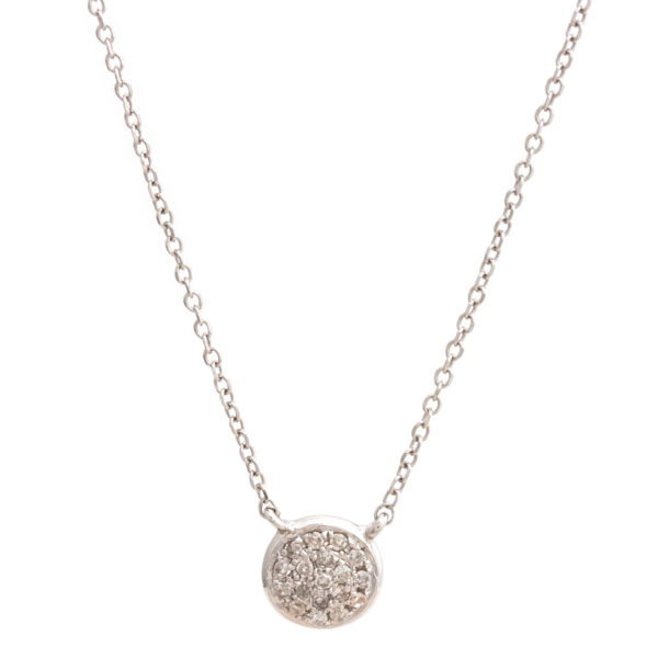 "White Gold Circle Single Pave Diamond Necklace (Petite Diamond Necklace (Wg/16+2""))"