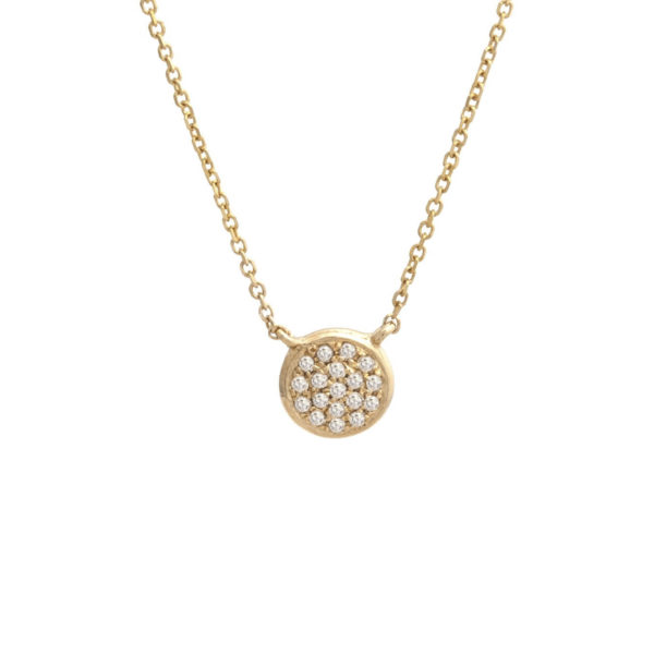"Yellow Gold Circle Single Pave Diamond Necklace (Petite Diamond Necklace (Yg/16+2""))"