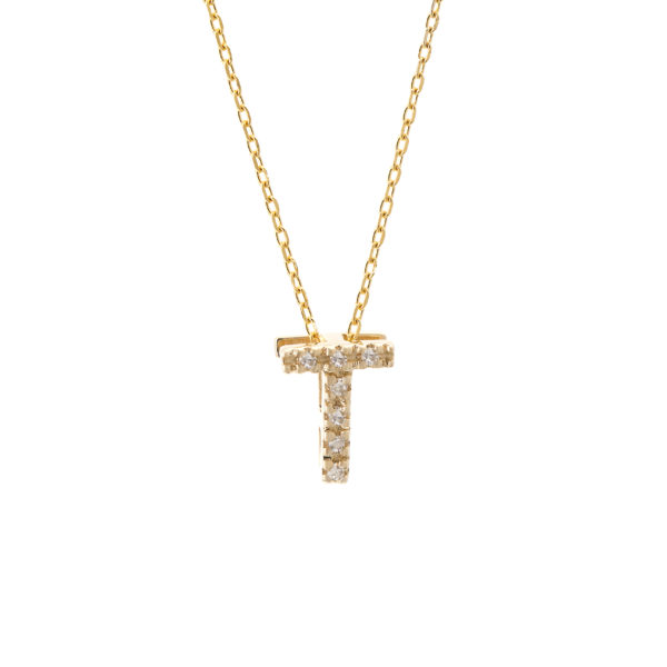 Yellow Gold Initial Single Micro Pave Diamond Necklace (Diamond Intiial Necklace (14ky))