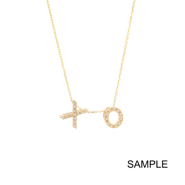 Yellow Gold Initial Single Micro Pave Diamond Necklace (Diamond Necklace With 2 Charms ( ))