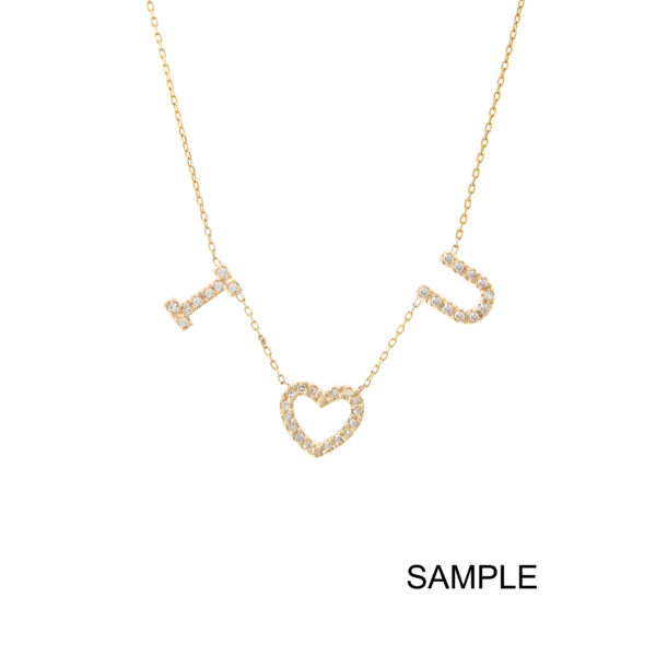 Yellow Gold Initial Single Micro Pave Diamond Necklace (Diamond Necklace With 3 Charms ( ))