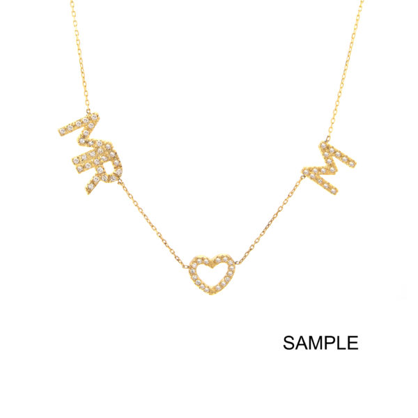 Yellow Gold Initial Single Micro Pave Diamond Necklace (Diamond Necklace With 4 Charms ( ))