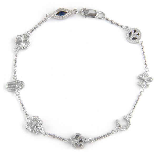 Sterling Silver Lucky Single Pave Diamond Bracelet (Silver Dia Religious Bracelet)