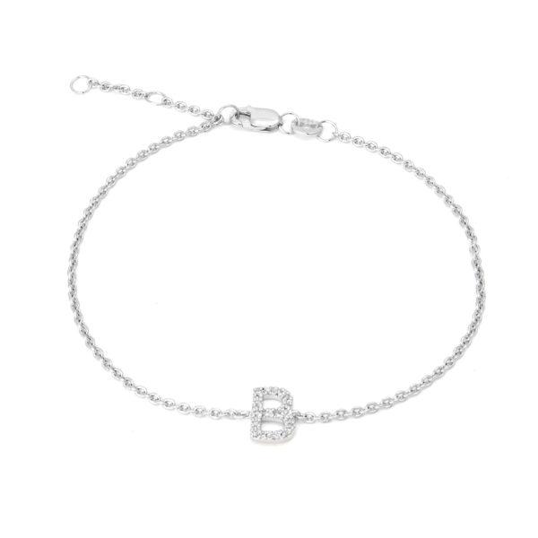 "Sterling Silver Letters Single Micro Pave Diamond Bracelet (Silver Diamond ""b"" Initial Bracelet 7+1"")"