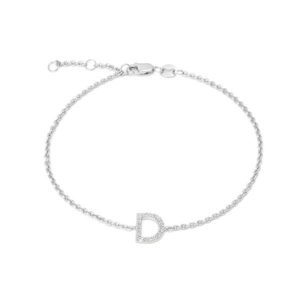 "Sterling Silver Letters Single Micro Pave Diamond Bracelet (Silver Diamond ""d"" Initial Bracelet 7+1"")"
