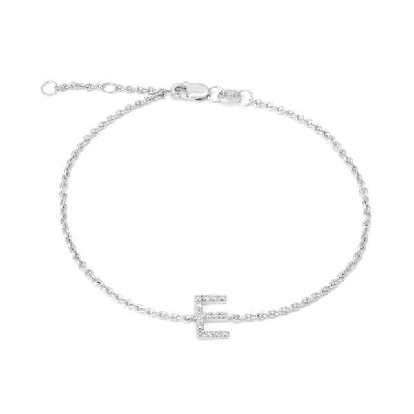"Sterling Silver Letters Single Micro Pave Diamond Bracelet (Silver Diamond 'E"" Initial Bracelet 7+1"")"