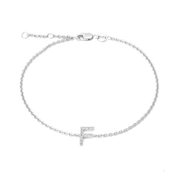 "Sterling Silver Letters Single Micro Pave Diamond Bracelet (Silver Diamond 'F"" Initial Bracelet 7+1"")"
