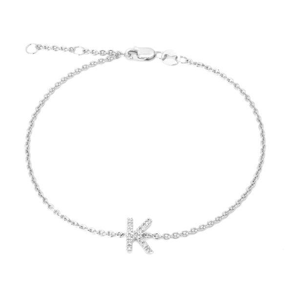 "Sterling Silver Letters Single Micro Pave Diamond Bracelet (Silver Diamond ""k"" Initial Bracelet 7+1"")"