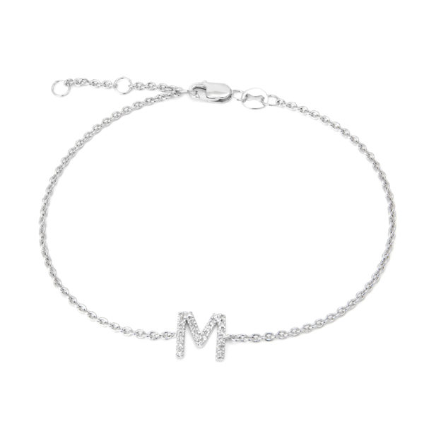 "Sterling Silver Letters Single Micro Pave Diamond Bracelet (Silver Diamond ""m"" Initial Bracelet 7+1"")"