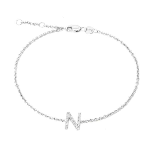 "Sterling Silver Letters Single Micro Pave Diamond Bracelet (Silver Diamond ""n"" Initial Bracelet 7+1"")"