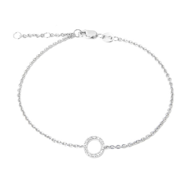 "Sterling Silver Letters Single Micro Pave Diamond Bracelet (Silver Diamond ""o"" Initial Bracelet 7+1"")"