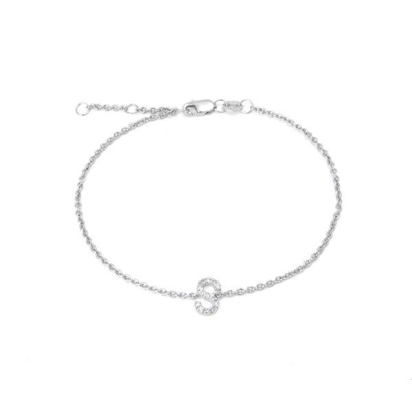 "Sterling Silver Letters Single Micro Pave Diamond Bracelet (Silver Diamond ""s"" Initial Bracelet 7+1"")"