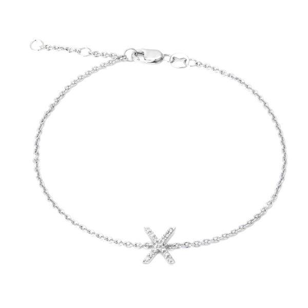 "Sterling Silver Letters Single Micro Pave Diamond Bracelet (Silver Diamond ""x"" Initial Bracelet 7+1"")"
