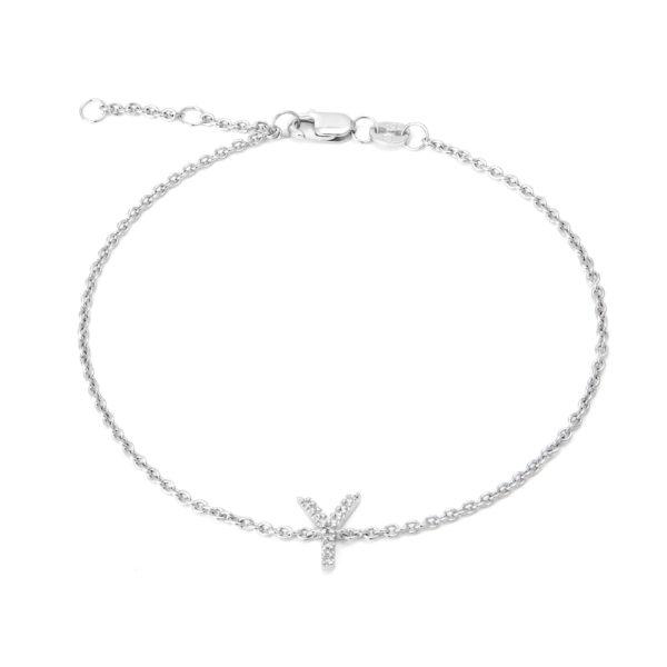 "Sterling Silver Letters Single Micro Pave Diamond Bracelet (Silver Diamond ""y"" Initial Bracelet 7+1"")"