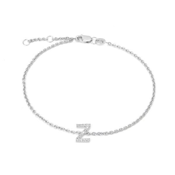"Sterling Silver Letters Single Micro Pave Diamond Bracelet (Silver Diamond ""z' Initial Bracelet 7+1"")"