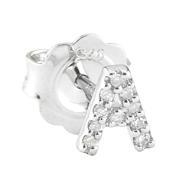 """Sterling Silver Initial Round Prong Diamond Earrings (Silver Diamond """"a"""" Earring)"""