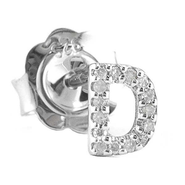 """Sterling Silver Initial Round Prong Diamond Earrings (Silver Diamond """"d"""" Earring)"""