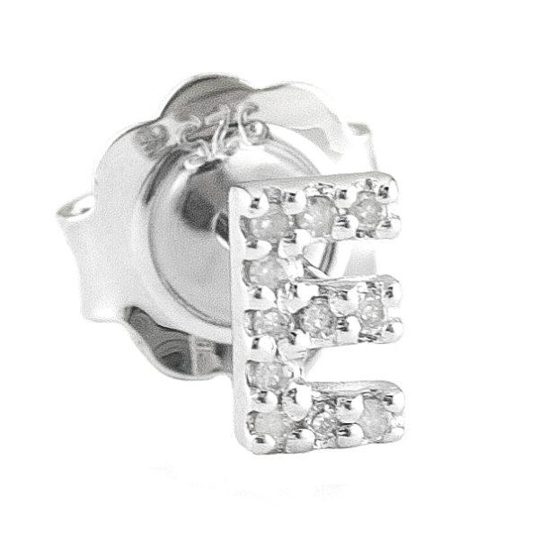 "Sterling Silver Initial Round Prong Diamond Earrings (Silver Diamond ""e"" Earring)"