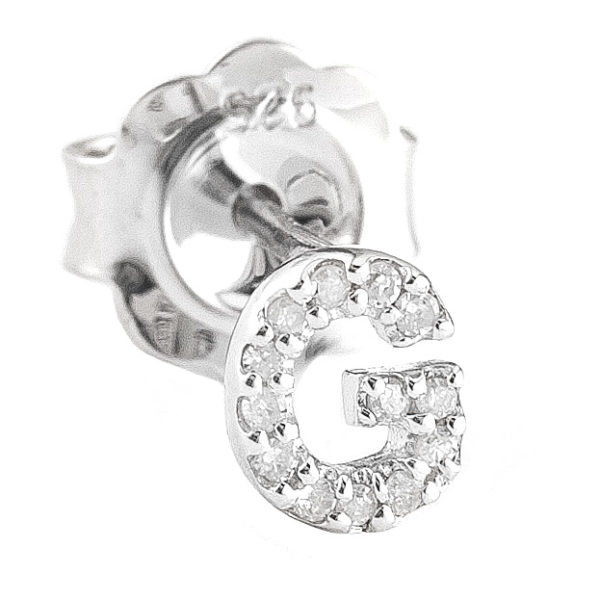 """Sterling Silver Initial Round Prong Diamond Earrings (Silver Diamond """"g"""" Earring)"""