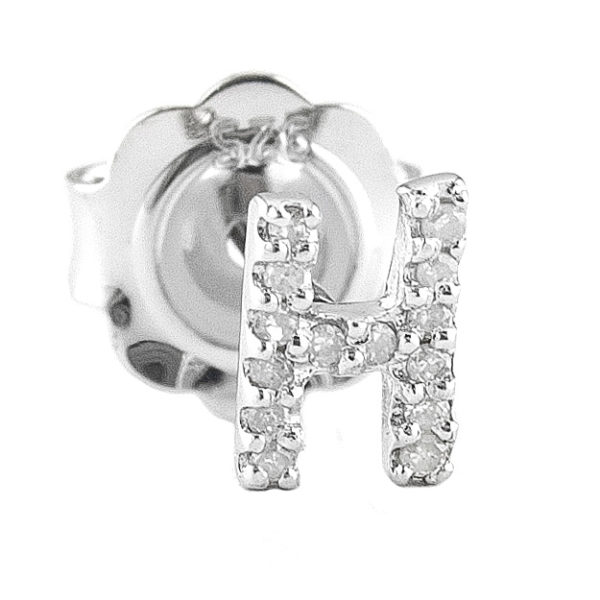 """Sterling Silver Initial Round Prong Diamond Earrings (Silver Diamond """"h"""" Earring)"""