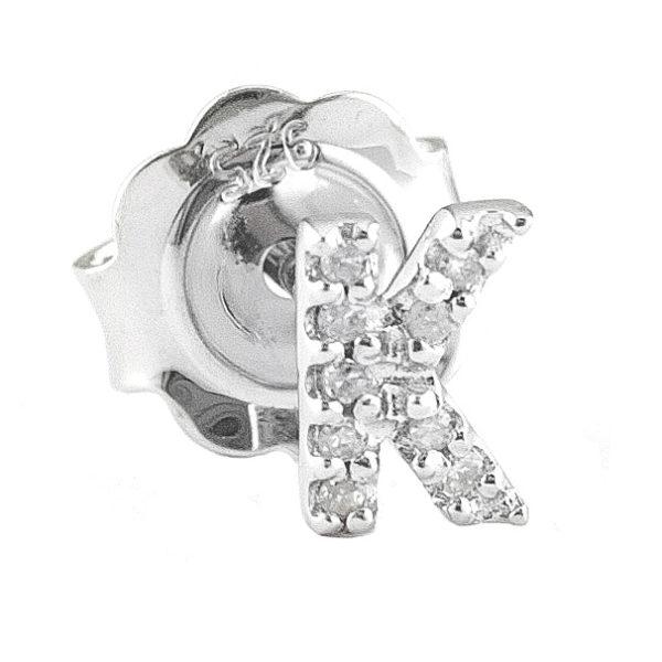 "Sterling Silver Initial Round Prong Diamond Earrings (Silver Diamond ""k"" Earring)"