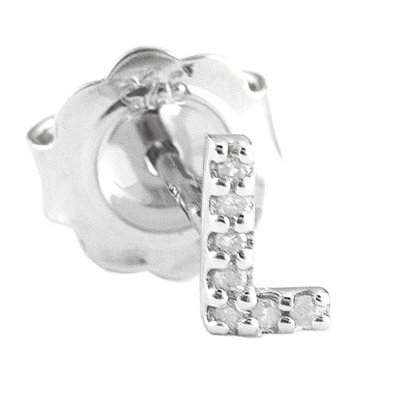 """Sterling Silver Initial Round Prong Diamond Earrings (Silver Diamond """"l"""" Earring)"""