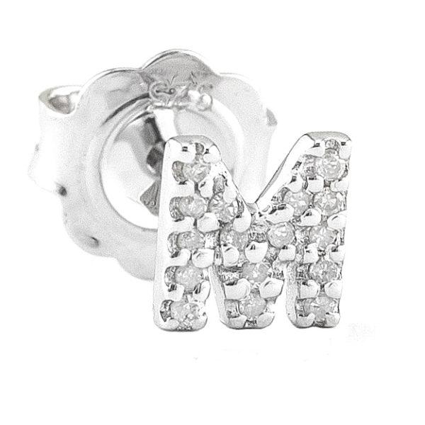 """Sterling Silver Initial Single Prong Diamond Earrings (Silver Diamond """"m"""" Earring)"""
