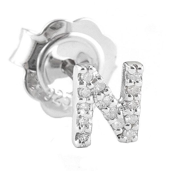 "Sterling Silver Initial Round Prong Diamond Earrings (Silver Diamond ""n"" Earring)"