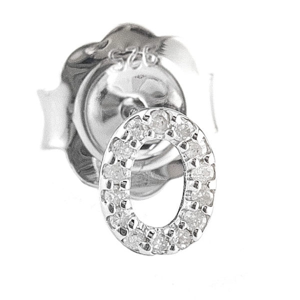 """Sterling Silver Initial Round Prong Diamond Earrings (Silver Diamond """"o"""" Earring)"""