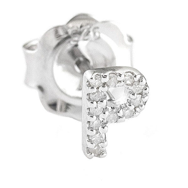 """Sterling Silver Initial Round Prong Diamond Earrings (Silver Diamond """"p"""" Earring)"""