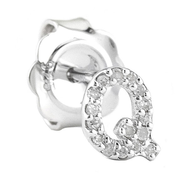 """Sterling Silver Initial Round Prong Diamond Earrings (Silver Diamond """"q"""" Earring)"""