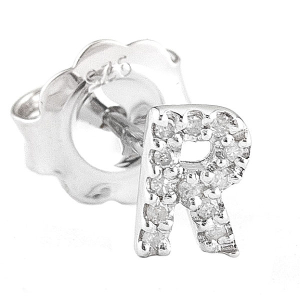 """Sterling Silver Initial Round Prong Diamond Earrings (Silver Diamond """"r"""" Earring)"""