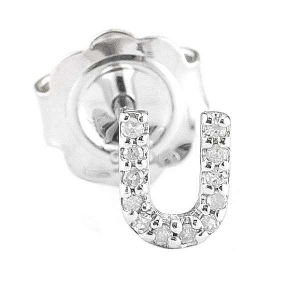 "Sterling Silver Initial Round Prong Diamond Earrings (Silver Diamond ""u"" Earring)"