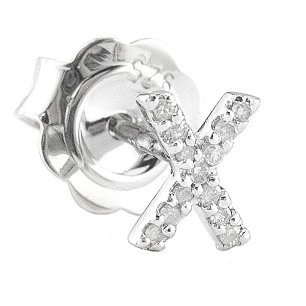 """Sterling Silver Initial Round Prong Diamond Earrings (Silver Diamond """"x"""" Earring)"""