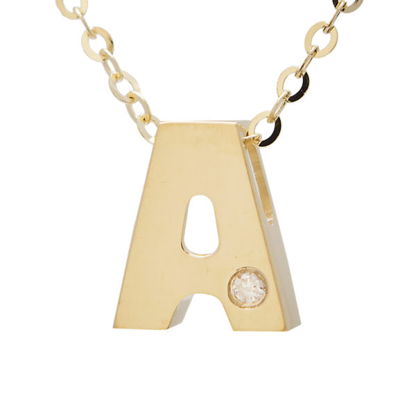 "Yellow Gold Initial Round Bezel Diamond Necklace (14k Yg Initial A W/ Diamond And Chain (16+2""))"