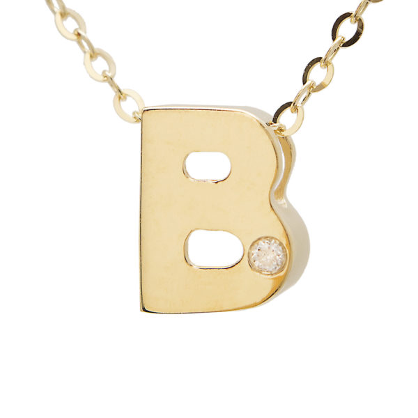 "Yellow Gold Initial Round Bezel Diamond Necklace (14k Yg Initial B W/ Diamond And Chain (16+2""))"