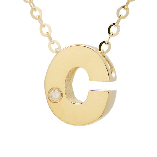 "Yellow Gold Initial Bezel Diamond Necklace (14k Yg Initial C W/ Diamond And Chain (16+2""))"