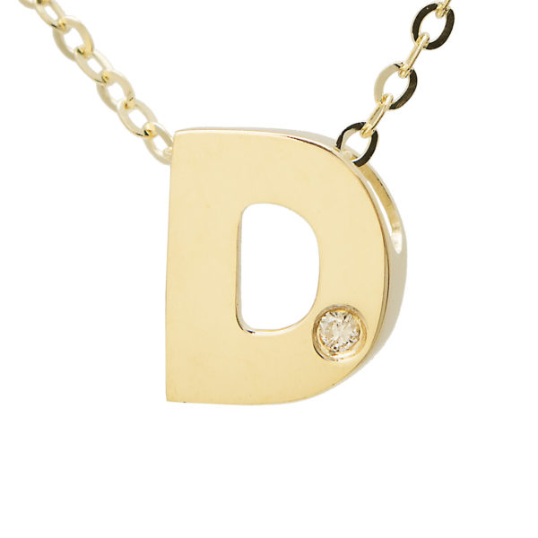 "Yellow Gold Initial Round Bezel Diamond Necklace (14k Yg Initial D W/ Diamond And Chain (16+2""))"
