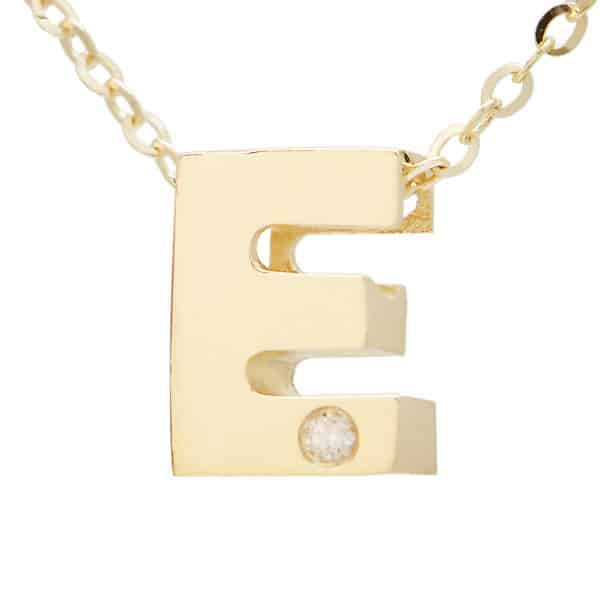"Yellow Gold Initial Round Bezel Diamond Necklace (14k Yg Initial E W/ Diamond And Chain (16+2""))"