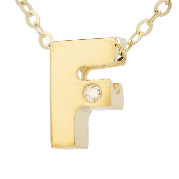 "Yellow Gold Initial Round Bezel Diamond Necklace (14k Yg Initial F W/ Diamond And Chain (16+2""))"