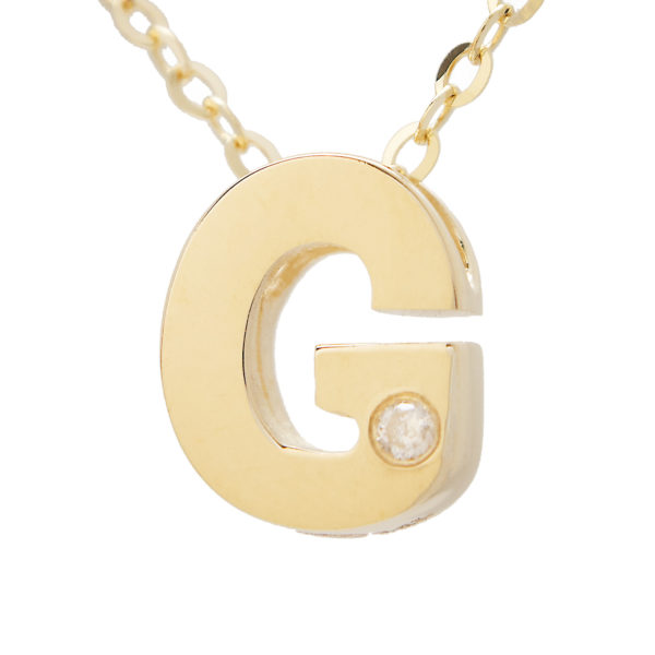 "Yellow Gold Initial Round Bezel Diamond Necklace (14k Yg Initial G W/ Diamond And Chain (16+2""))"