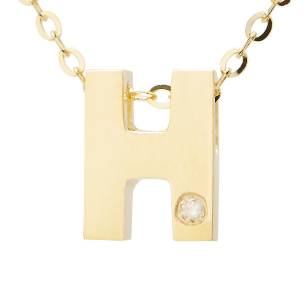 "Yellow Gold Initial Round Bezel Diamond Necklace (14k Yg Initial H W/ Diamond And Chain (16+2""))"
