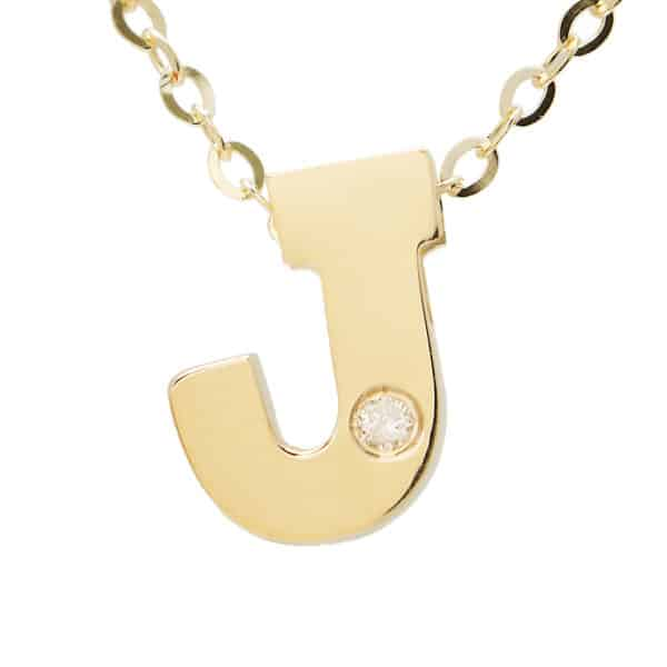 "Yellow Gold Initial Round Bezel Diamond Necklace (14k Yg Initial J W/ Diamond And Chain (16+2""))"