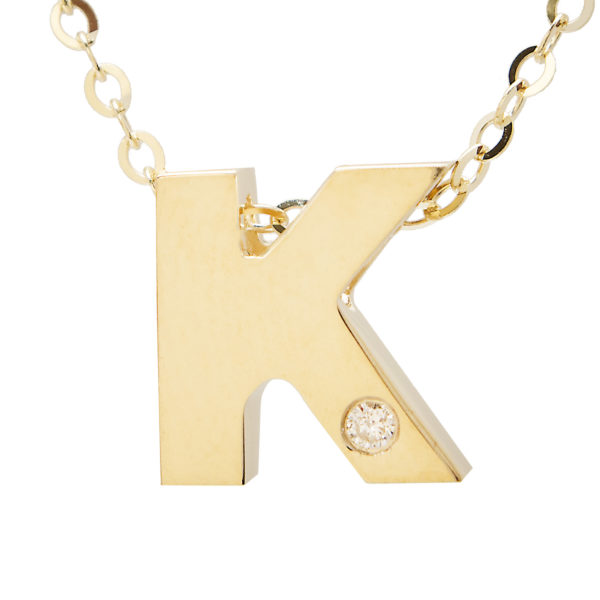 "Yellow Gold Initial Round Bezel Diamond Necklace (14k Yg Initial K W/ Diamond And Chain (16+2""))"