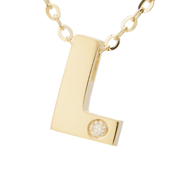 "Yellow Gold Initial Round Bezel Diamond Necklace (14k Yg Initial L W/ Diamond And Chain (16+2""))"