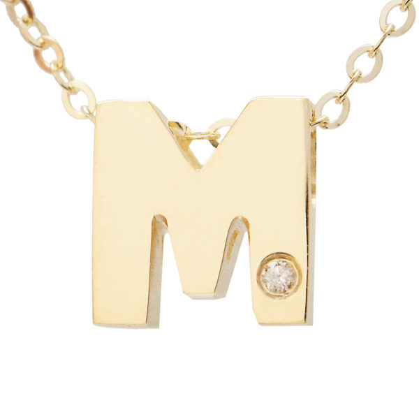 "Yellow Gold Initial Round Bezel Diamond Necklace (14k Yg Initial M W/ Diamond And Chain (16+2""))"